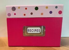 """Recipe Box with Dividers~Recipe Cards Pink Polka dot """"In This Kitchen, We Dance"""""""