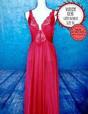 Vtg OLGA Size L XL Full Length Nightgown 92270 Vixen Red Lace Sleeveless Empire