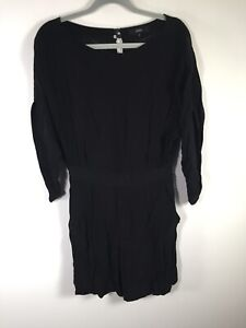 Saba womens black playsuit romper size 10 3/4 sleeves viscose good condition