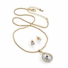 Diamante Crystal Pendant & Stud Earring Set Gold Colour Chain