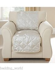 PRIMROSE OYSTER 2 SEATER QUILTED SOFA THROW PROTECTOR FLORAL JACQUARD IVORY