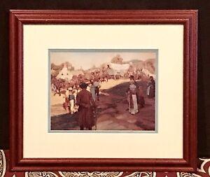 "Vintage Antique ""DuPont Powder Wagon"" Howard Pyle Colorized Print Drawing Framed"