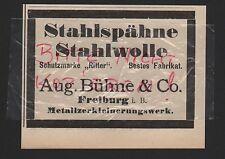 FREIBURG, Werbung 1912, Aug. Bühne & Co. Ritter Stahlspähne Stahlwolle
