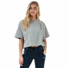 Para mujer de cuello redondo con logotipo de Adidas Originales Grandes REGULAR FIT T-Shirt En Gris