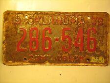COM'L TRUCK TAG License Plate 1973 OKLAHOMA #286-546 [Y59D3]