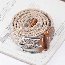 Men's Casual Fashion Belts Faux Leather Stretch Span Elastic Belt Two Tone Beige