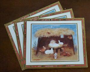 3 Vintage Caspari Christmas Cards by Mary Ann Perkins, Nativity scene