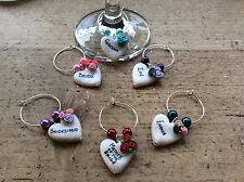 wine glass charms Personalised Wedding Handmade Any Colour Name Hearts Hen Do 1