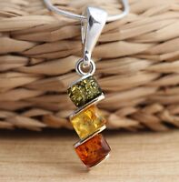 Multicolour  Baltic Amber 925 Sterling Silver Pendant  Jewellery
