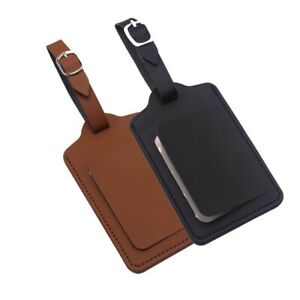 2 Pcs Luggage Tag Back Privacy ID Luggage PU Leather Suitcase Bag Tags Durable