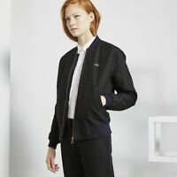 LACOSTE LIVE Women's HARRINGTON Jacquard Jacket, Black-Navy Blue XL / UK 14-16