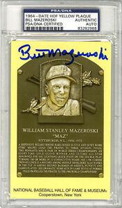 Bill Mazeroski SIGNED Baseball Hall of Fame Plaque Pirates PSA/DNA AUTOGRAPHED