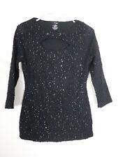 NEW JLO Jennifer Lopez Womens Shirt Size Small Black Crewneck 3/4 Sleeve Stretch