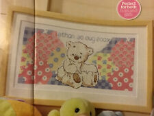(H) Lickle Ted Teddy Bear New Baby Birth Sampler Nursery Cross Stitch Chart