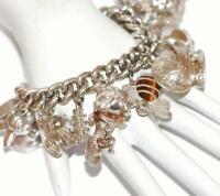 Heavy Vintage Sterling Silver Padlock Charm Bracelet, Rare Massive Charms by FM