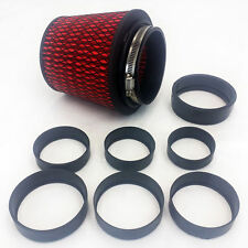 """UNIVERSAL HIGH PERFORMANCE INTAKE CONE W ADAPTOR FROM 2.25"""" TO 4"""" RED"""