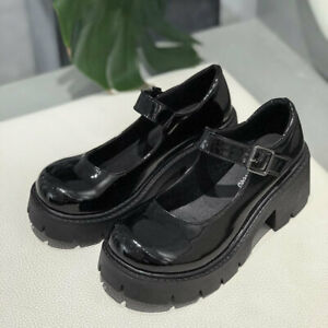 Vintage Soft Sister Girls High Heels Waterproof Platform College Student Shoes