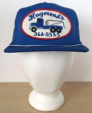 Vtg Raymonds Wrecker Tow Truck Blue Mesh Patch Hipster Trucker Cap Hat Snapback