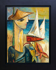 Sailboat Fisherman Ocean Landscape Print Canvas of Original Oil Art SFASTUDIO