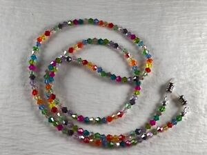 "OVER THE RAINBOW Petite 25"" Czech Bi-cone Crystal Beaded Eyeglass Chain Made USA"