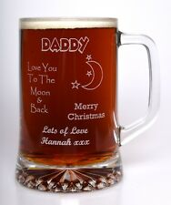 Personalised CHRISTMAS MOON & BACK Pint Glass Tankard Gift For Dad/Grandad/Daddy