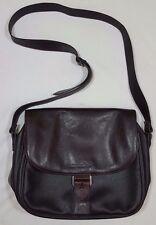 Nannini Leather Messenger Shoulder Bag Purse Leather Dark Brown 13 X 10
