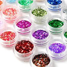 24 Pcs Poudre Poussière Paillette Glitter Ongle Nail Art Manucure DIY Décoration