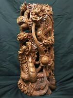 Japanese Vintage Wood Carving Large & Heavy Dragon Sculpture 24""