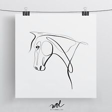 Horse Art Print, One Line Drawing, Horse and Equine Gift, Equestrian Art