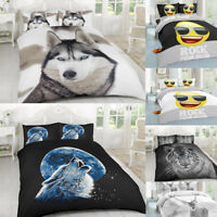 3D WILD Animal Duvet Quilt Cover Bedding Set With Pillow Case Single/Double/King
