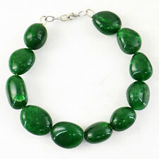 280.00 Cts Earth Mined 8 Inches Long Green Emerald Oval Beads Handmade Bracelet