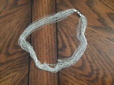 """STERLING SILVER MULTI STRAND CHAIN NECKLACE  20"""" / 20.9 GRAMS"""