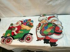 Pair of Christmas Santa and Mrs.Claus Winter Die Cut Paper Wall Window Posters