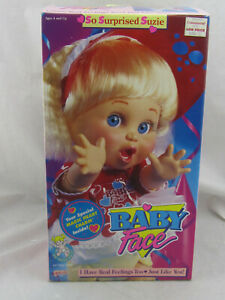 "NEW - Vintage 1990 Baby Face So Surprised Suzie 13"" Doll by Galoob 3208 NIB"