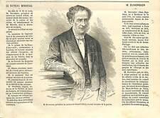Jean-Baptiste Duvergier Ministre Justice FRANCE ANTIQUE PRINT GRAVURE 1869