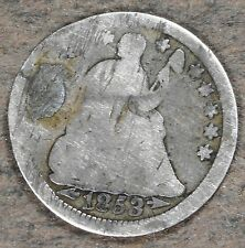 1853 Silver Seated Liberty Half Dime! Very Good Condition, hd159