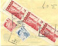 3 x $1.00 Centennial + 4c + 5c Bulk receipt payment 1968 slip Cover Canada
