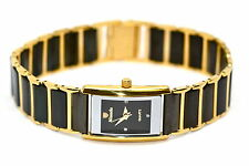 WOMENS SUPER SLIM NIVADA SWISS WATCH SQUARE BLACK GOLD CERAMIC STAINLESS STEEL