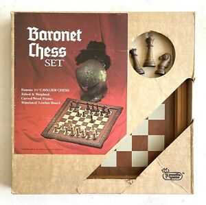 """Vintage Baronet 3.25"""" Cavalier Chess Set Felted & Weighted No. 1052 Pacific Game"""