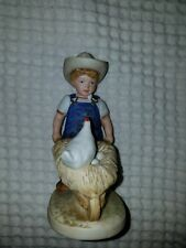 """Homco Denim Days collection Figurine 1501 """"Morning Chores"""" Danny with a chicken"""