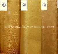 "Cross Pattern Vestment Brocade Liturgical Fabric Yellow Gold Metallic 59"" 150 cm"