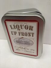 Liquor up Front Poker in Rear Funny Cigarette Tobacco Storage 2oz Hinged Tin