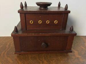 Antique Tramp Folk Art Wooden Tiered Sewing Cabinet Handmade Wood Drawer Tools