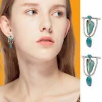 Ladies Silver Earrings Women Turquoise Gemstone Dangle Drop Hook Jewelry-Boho