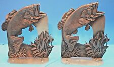 "Pewter ~ Wide Mouth / Big Mouth Bass ~ Bookends ~ 6 1/2"" tall"
