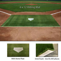 6 Ft x 12 Ft SyntheticTurf Baseball Softball Batting Practice Hitting Cage Mat