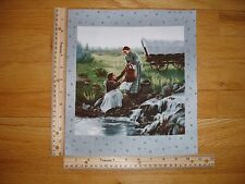 """Pioneer Living Women Collecting Water Wagon Cotton Quilt Fabric Block 9"""" x 9"""""""