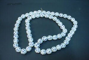 Antique Venetian Murano Glass White Skunk African Trade Bead Necklace