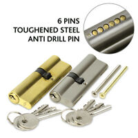 EURO-CYLINDER BRASS DOOR LOCK 6 PIN ANTI-DRILL KEYED ALIKE (VARIOUS SIZES)