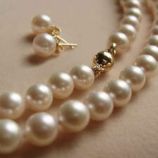 "8MM White Akoya shell Pearl Necklace +Earring AAA 18""AAAW"
